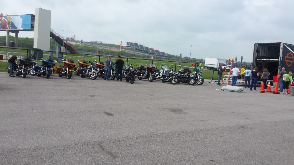 Setting up the Harley's for the event